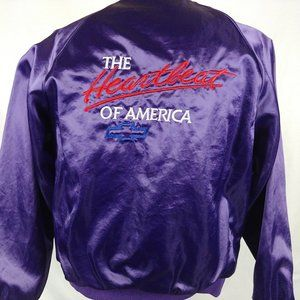 Vtg 80s Purple Satin Chevy Jacket SM Nylon Bomber